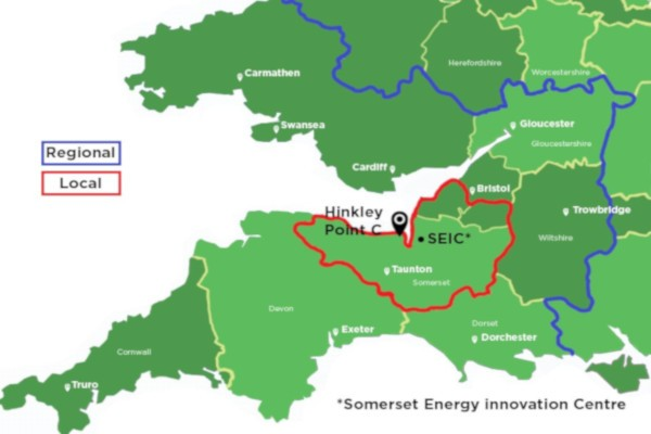 Map showing area covered by Hinkley Supply Chain team including Somerset and South West