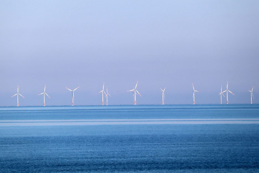 Photo of an offshore wind farm generating green energy
